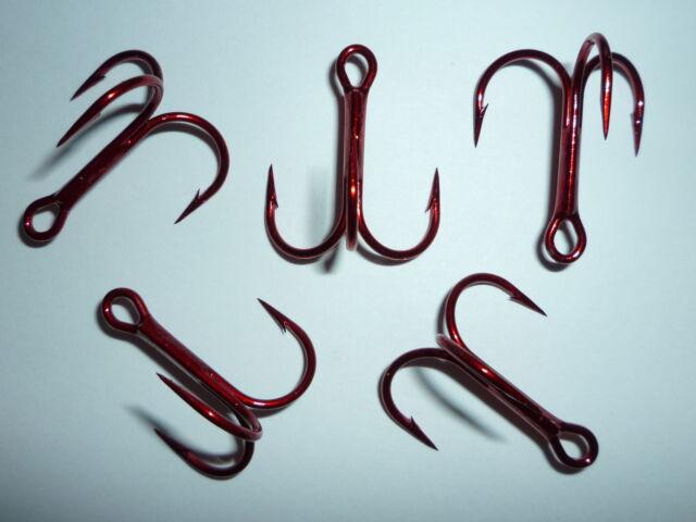 25pcs VMC 9650TR 1x Red Treble Hooks Size 14-9650 Fishing Hook for sale online
