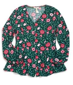 Matilda-Jane-YESTERYEAR-Tunic-Small-Green-Floral-Rayon-Blouse-Top-Women-039-s-NWT