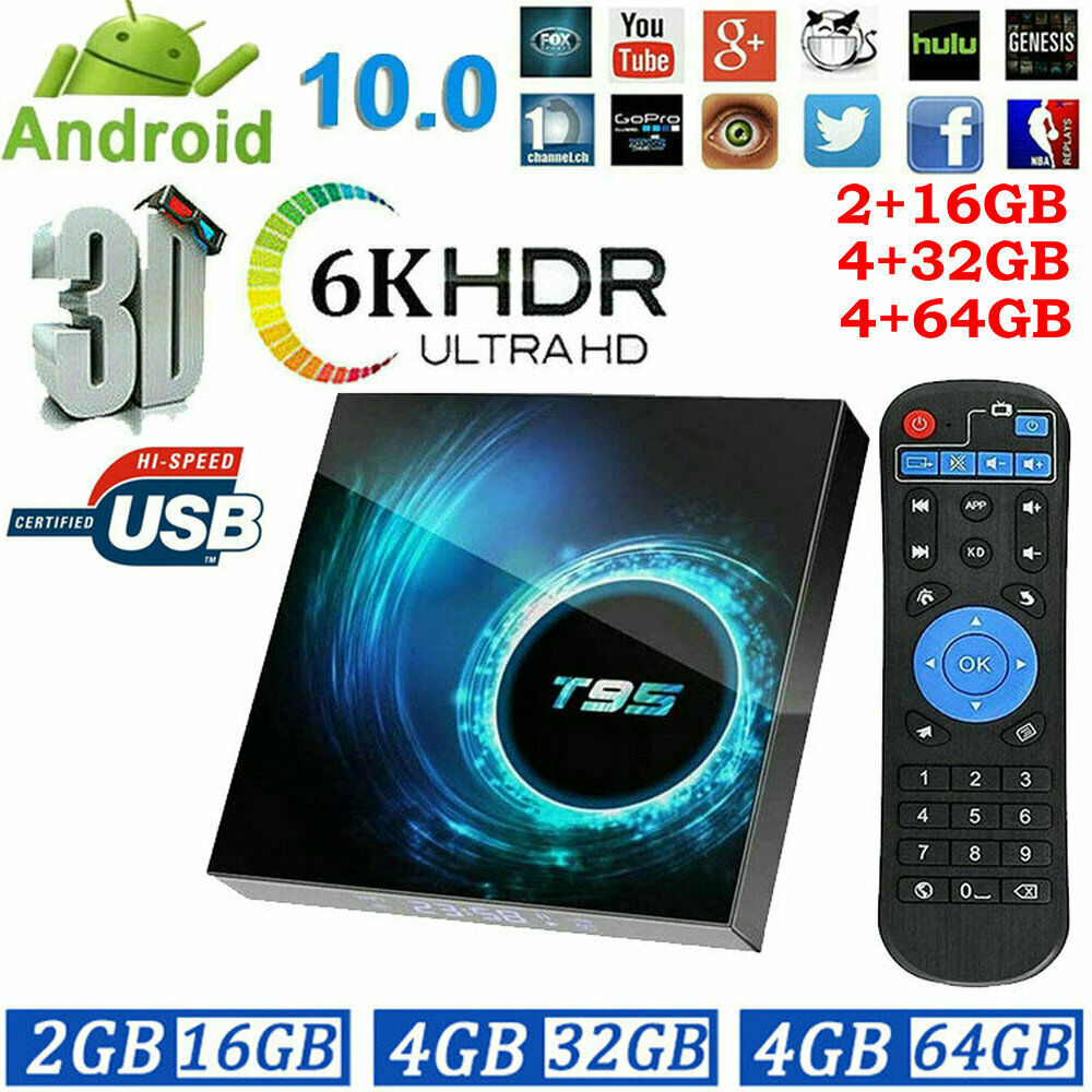 Android Smart TV Box Ultra HD WIFI 6K Quad Core USB2.0 Media Streaming Player android box core media player quad smart streaming ultra wifi
