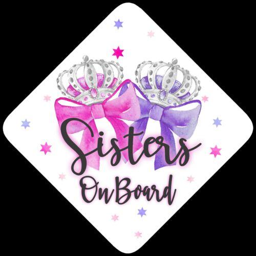 Sœurs à bord Enfant Bébé À Bord Voiture Signe Rose /& Pamplemousse Bow Silver ~ non comm