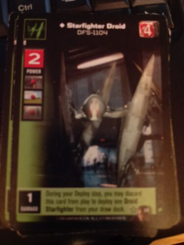 Star Wars Young Jedi TCG Duel of the Fates Starfighter Droid DFS-1104 Non-Mint