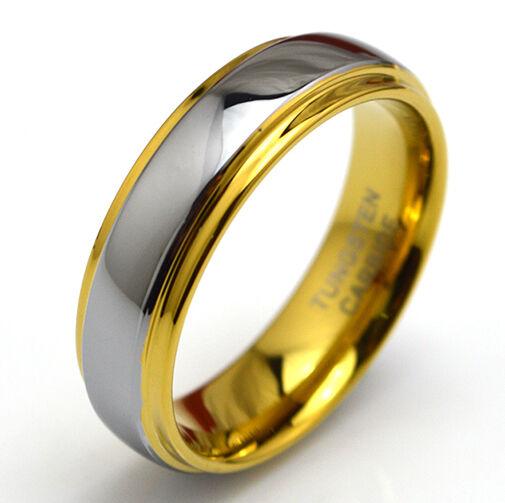 TUNGSTEN CARBIDE YELLOW GOLD GF MENS WOMENS WEDDING BAND ENGAGEMENT RING JS045
