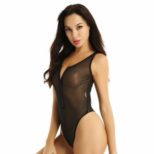 Women/'s Sheer Mesh Lingerie Zipper Unlined Tank Top Sleeveless Bodycon Leotard