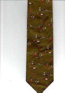 MOODYS-NEW-QUALITY-100-WOVEN-SILK-TIE-TAUPE-FISHING-THEME-FLOATS-amp-LINES