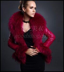Outwear Fur Pu Vinter Ny Kvinder Jacket Varm Frakke Læder Down Faux Raccon Collar v0UTqwUx