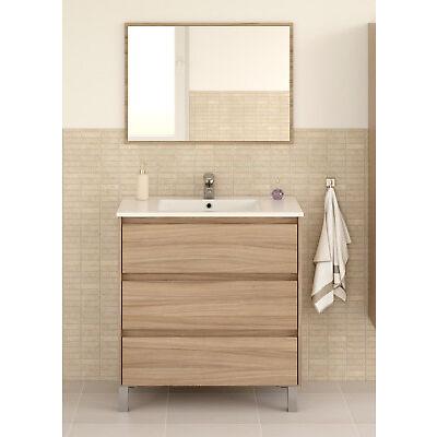 Mueble baño con espejo 3 cajones diseño moderno LAVABO DE CERÁMICA INCLUIDO