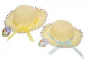 1x-Childrens-Woven-Easter-Bonnet-Hat-With-Ribbon-Fancy-Dress-Easter-Craft-Bonnet