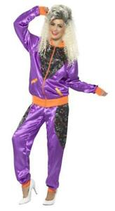 Ladies 80/'s Purple Shell Suit Trackie COSTUME WIG Adult 80s Retro Fancy Dress