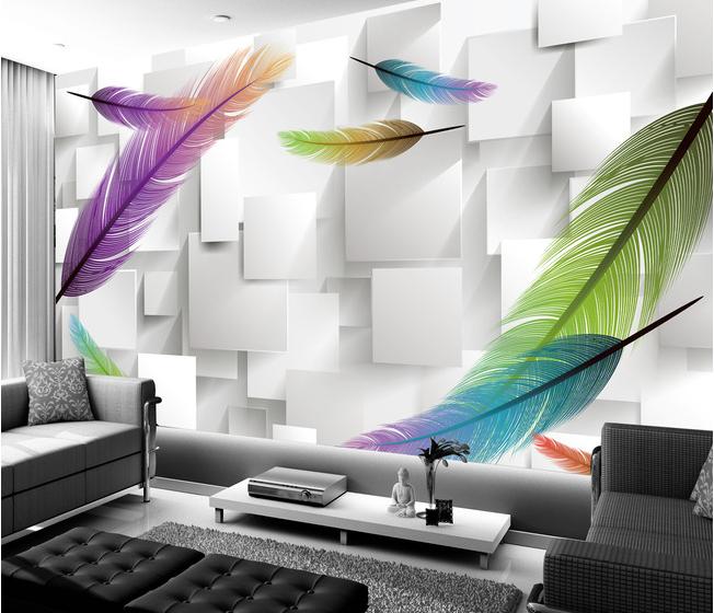 3D Farbige Federn 83 Tapete Wandgemälde Tapete Tapeten Bild Familie DE | Die erste Reihe von umfassenden Spezifikationen für Kunden  | Fuxin  |