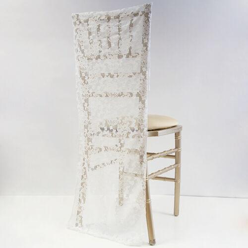 Ivoire Dentelle Chair Cover Cap pour chivary//Cheltenham chaises Vintage Wedding Decor