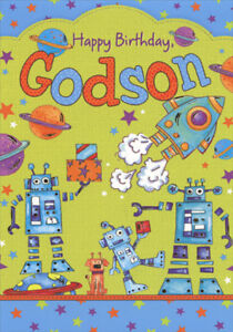 Image Is Loading Rockets And Robots Birthday Card For Godson Greeting