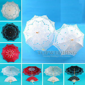 Multi-Colors-Handmade-Cotton-Lace-Parasol-Umbrella-amp-Hand-fan-For-Wedding-Party