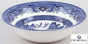 Churchill-Earthenware-24cm-Blue-Willow-Salad-Bowl-Serveware-Kitchen-New