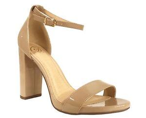 CITY-CLASSIFIED-SHINER-Women-039-s-Open-Toe-Ankle-Strap-Block-Heeled-Sandals