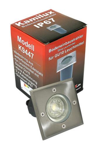 Bodenleuchten Spot Aussenstrahler Bodo 230V GU10 IP67 Edelstahl Platte ohne LM