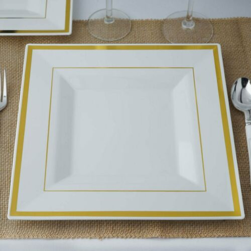 """10 Plastic White 11/"""" Square Plates with Gold Rim Disposable Party Wedding SALE"""