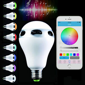Bluetooth control music audio speaker led color bulb light for Bluetooth controlled light bulb