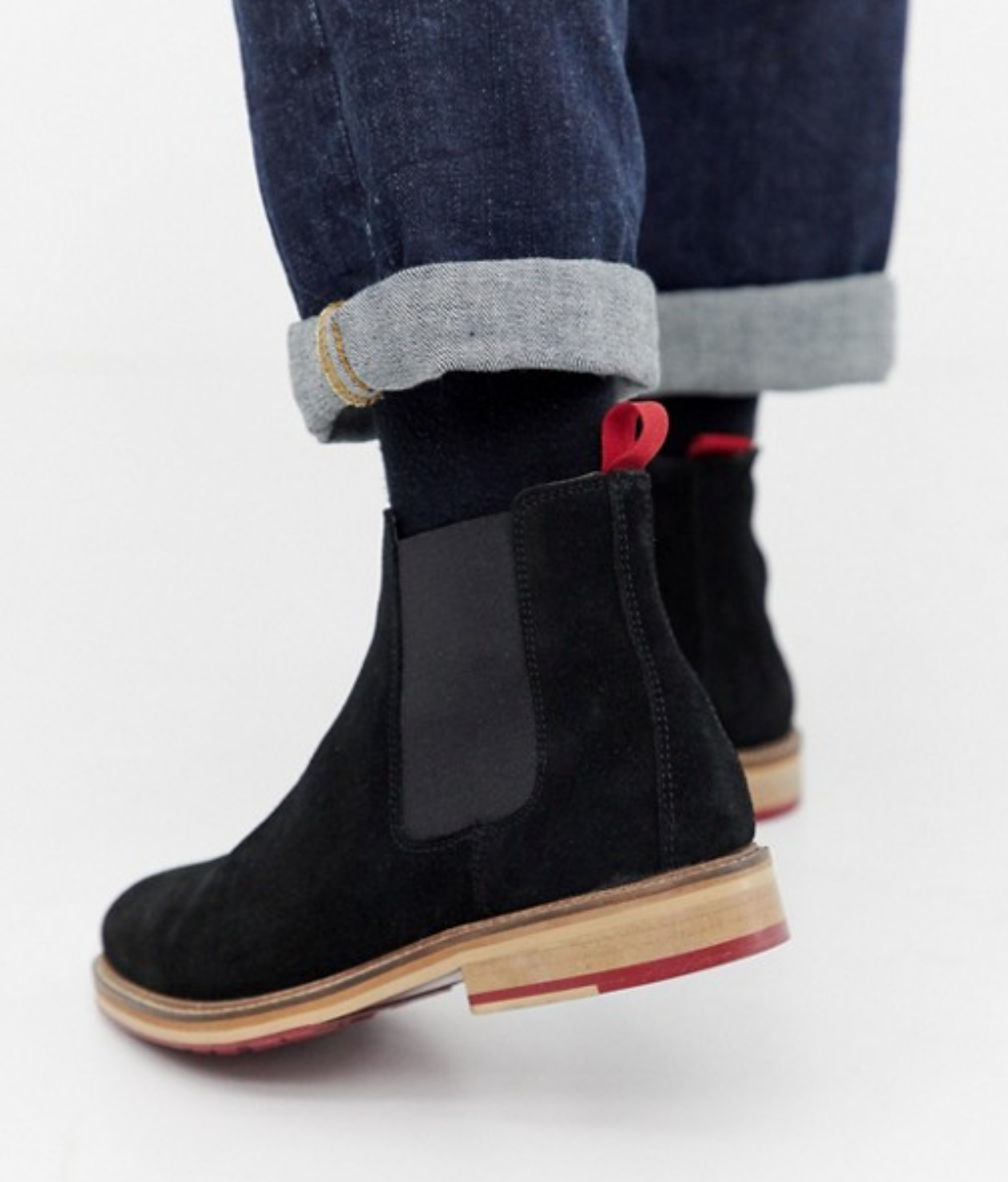 Mens Black Genuine Suede Leather Dress Chelsea Boots w  Red Cleated Sole