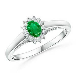0 31ctw Princess Diana Inspired Emerald Ring With Diamond Halo