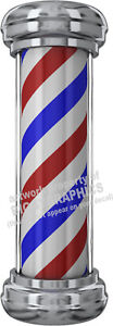 BARBER-SHOP-POLE-VINYL-DECAL-OUR-BESTSELLER-CHOOSE-SIZE-RED-WHITE-BLUE