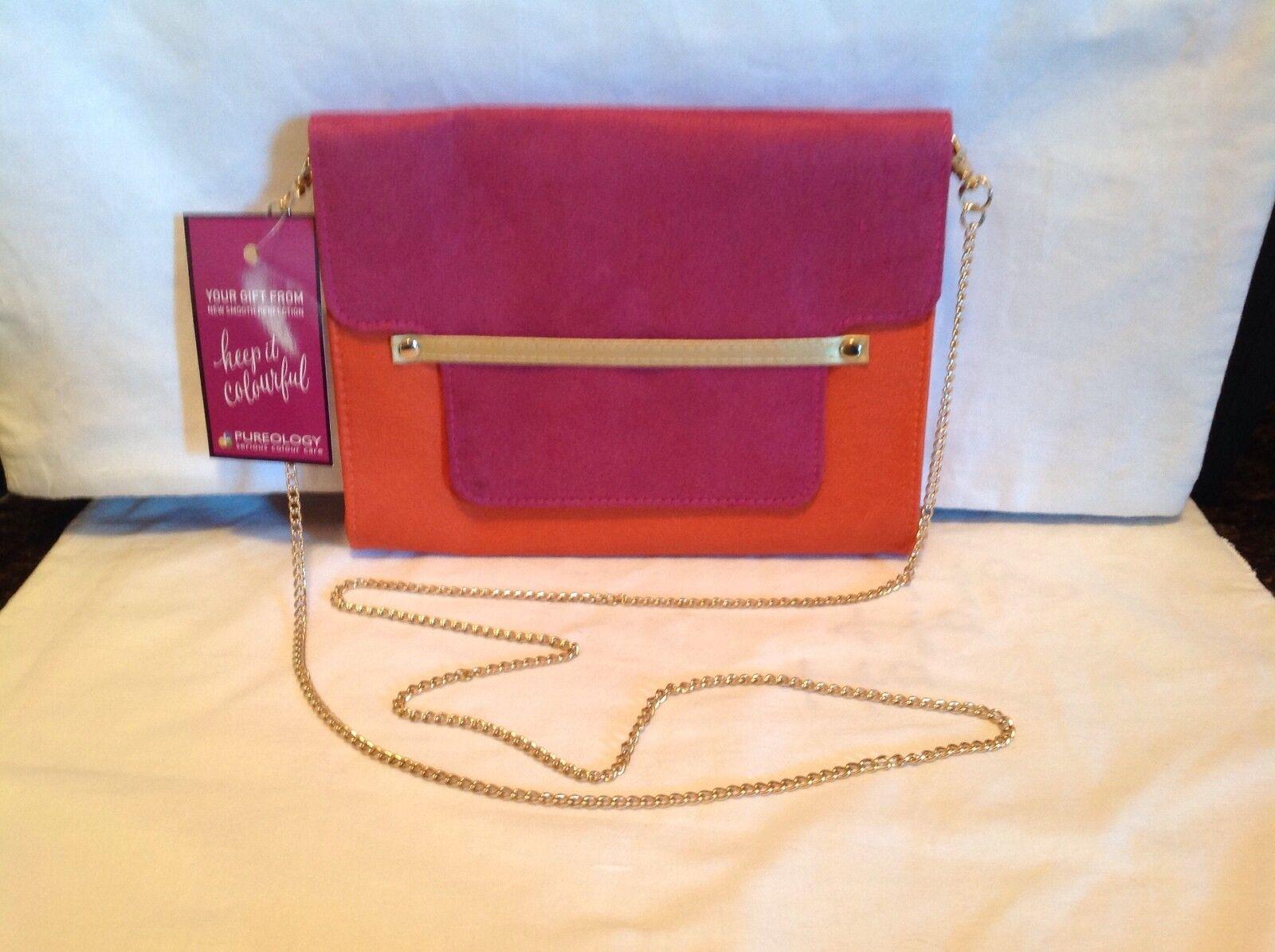 fdf9b81d38 Pureology Suede Leather Clutch Purse Dark Pink Orange Chain Strap ...