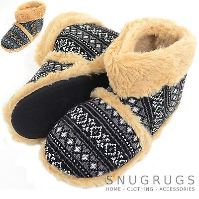 Booties Mens Knitted Style Warm Fleece Lined Slipper Boots