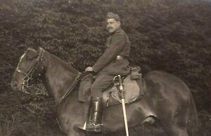 BELGIAN-CAVALRY-WW1-WAR-HORSE-HEAVY-SWORD-ANTIQUE-RPPC-PHOTO-POSTCARD