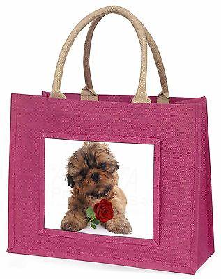 Shih Tzu Hund mit roter Rose Große Rosa Einkaufstasche Weihnachtsgeschenk,