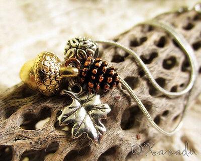 Autumn Harvest Fall Pendant Necklace - Silver Leaf, Copper Pine Cone, Gold Acorn