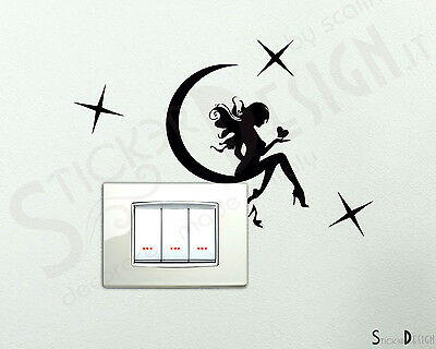 Adesivi Murali  Wall Stickers Adesivi Cameretta Sticker Fatina Seduta sulla luna