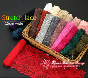 Stretch-Elastic-Continuous-lace-ribbon-6-034-wide-Trims-lace-trimmings-Sewing-FL193