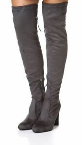a47774801 Sam Edelman Kent Over the Knee Stretch Dark Grey Gray Suede Boots ...
