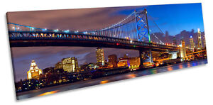 philadelphia skyline ben franklin bridge canvas wall art panoramic