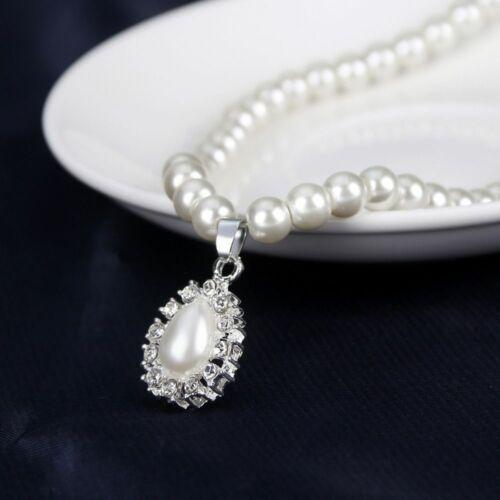 Femmes Perle Cristal Collier Pendentif Boucles D/'Oreilles Mariage Bijoux Set Cadeau