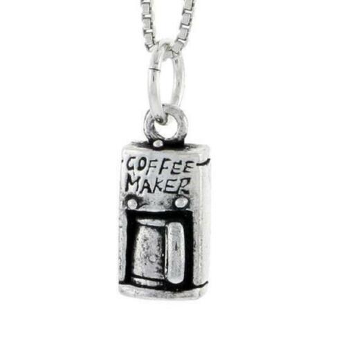 "18/"" Italian Box Chain Sterling Silver Coffee Maker Pendant Charm"