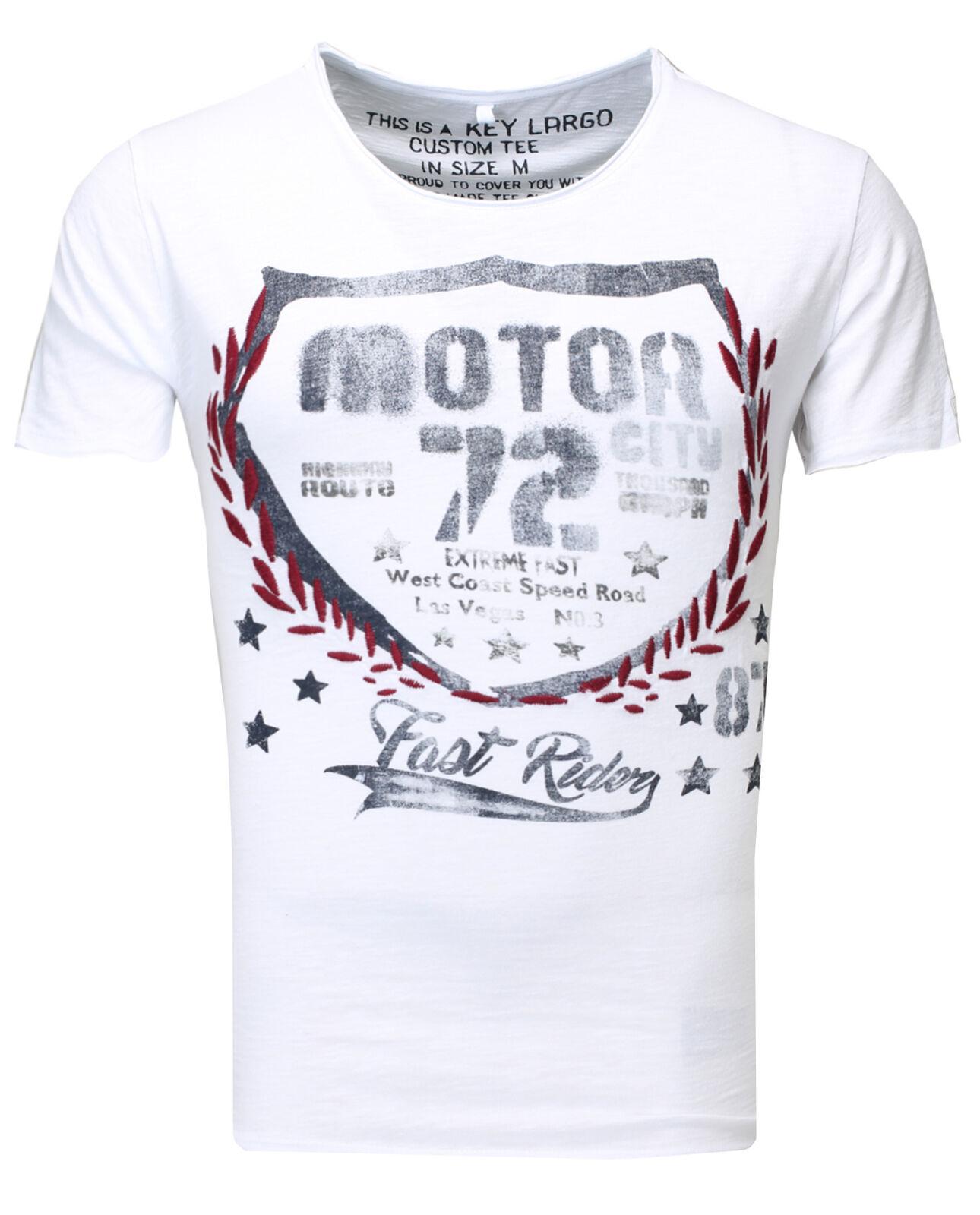 Key Largo Men's T-Shirt Short Sleeve Vintage Fast Riders mt00144 White