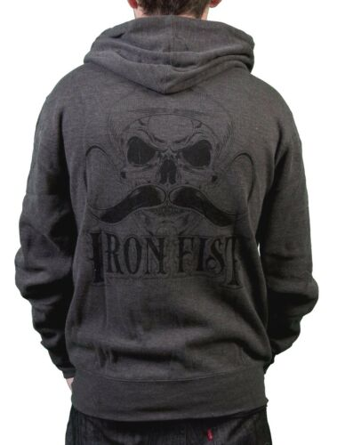 Iron Fist Mens Melcher French Rib Burnt Charcoal Hoodie Skull Moustache NWT