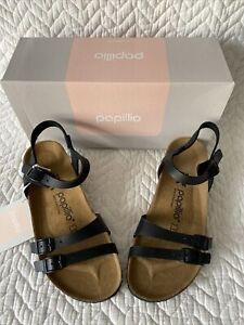 BIRKENSTOCK PAPILLO Lana Black Leather 38 N  Heel Strap New In Box Authentic $79