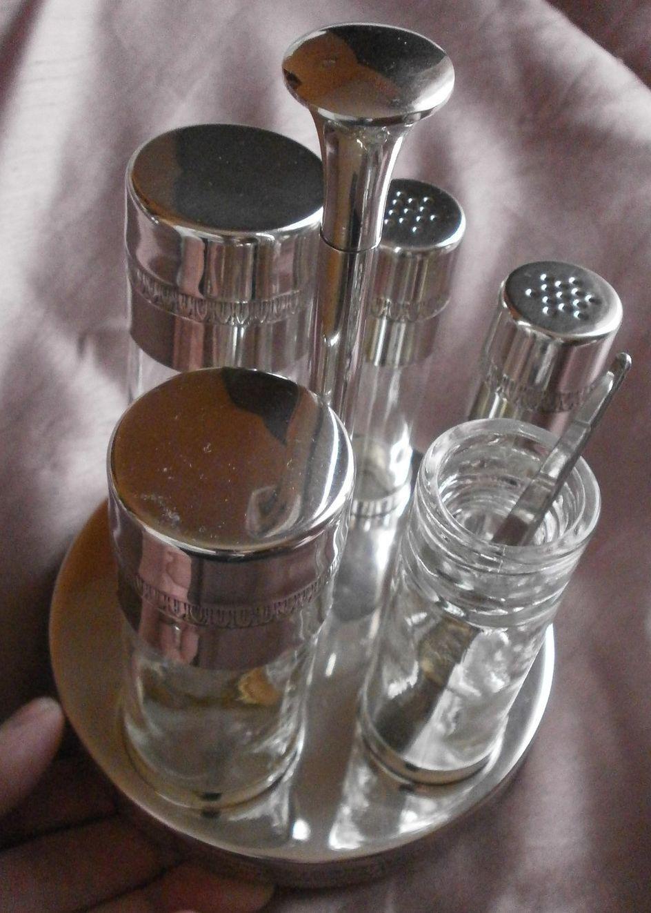 Service à condiments métal Silberé & verre - Frise à palmette de style empire