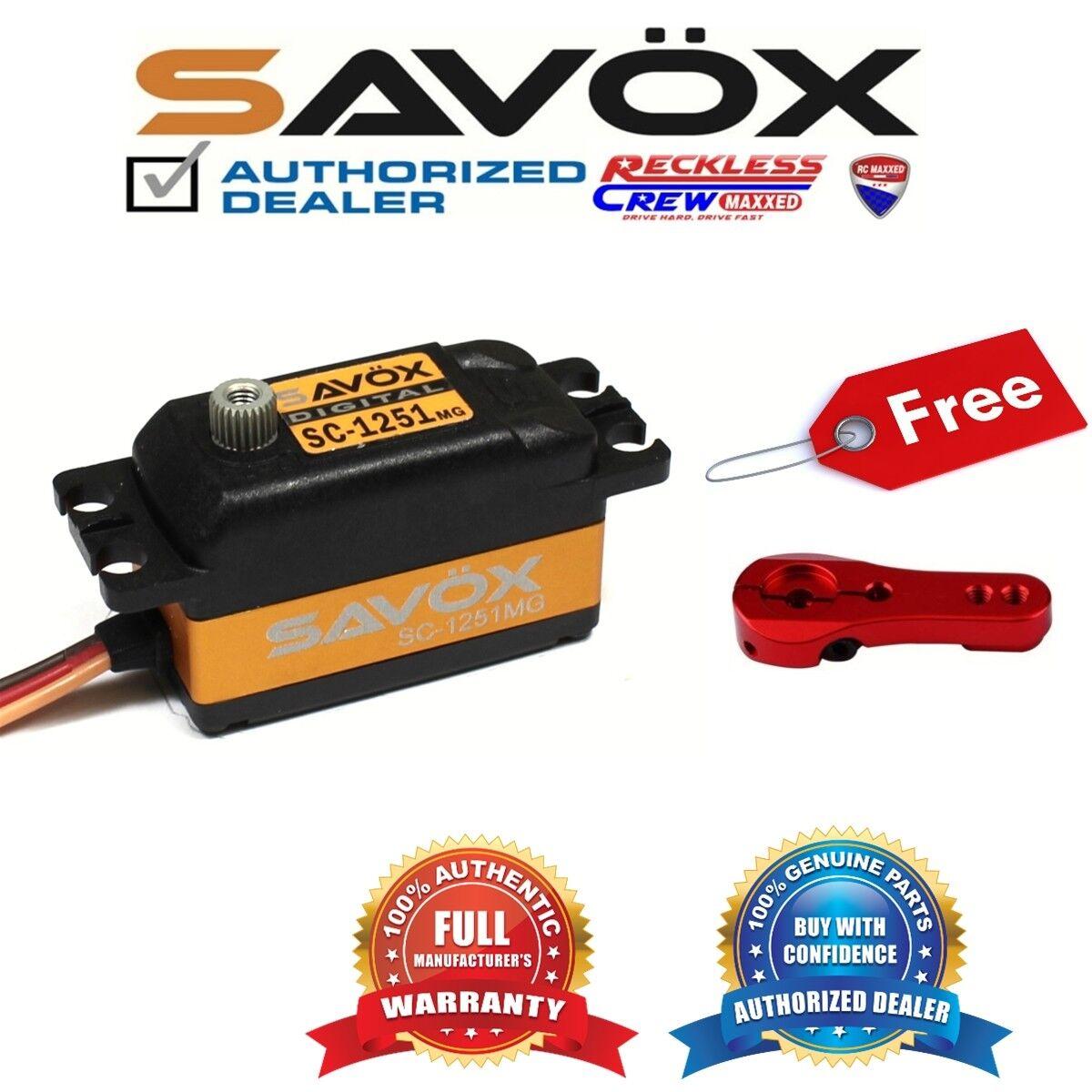 Savox SC-1251MG de alta velocidad de bajo perfil Servo + Gratis Aluminio Servo Cuerno Rojo