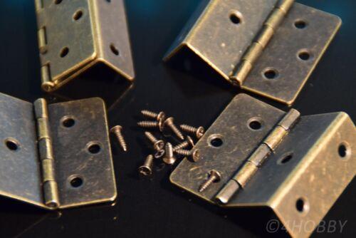4 Antik-Scharniere Eckig Schmuckkästchen 43 mm Alt Antik, Schatulle Schatztruhe
