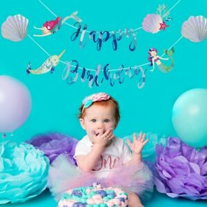Mermaid-Happy-Birthday-Banner-Under-The-Sea-Flag-Baby-Shower-Party-Decoration