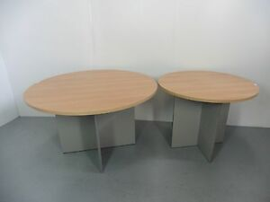 OFFICE-ROUND-1200MM-TABLE-RED-OAK-SILVER-BRISBANE