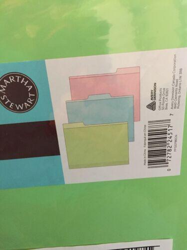 NEW NIP Martha Stewart Home Office Avery® 72 Horizontal File Folders  11.5x9.5