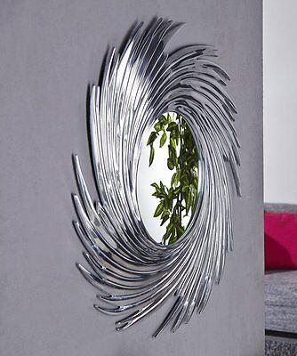Sun Round round DESIGNER Wall mirror 80 cm in silver Aluminium Frame New