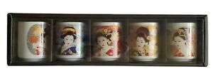 Japanese-Geisha-Porcelain-Sake-Wine-Tea-Cups-Box-Set-of-5