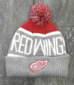 2c7049ba02f DETROIT RED WINGS NHL 47  BRAND CALGARY CUFFED KNIT BEANIE HAT POM ...
