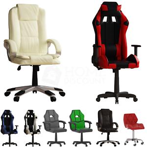 Silla de oficina de escritorio para juegos de computadora acolchada Ejecutivo Giratorio Escritorio De Casa De Cuero