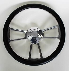 Chevelle-Nova-Camaro-Impala-14-034-Steering-Wheel-Black-Billet-Chevy-Bowtie-cap
