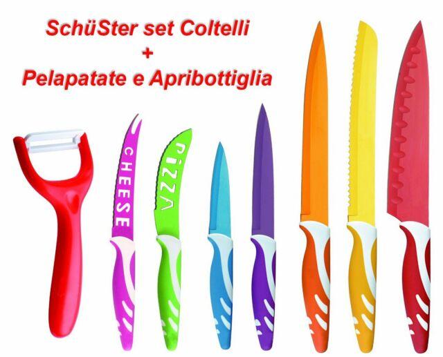Set di coltelli in ceramica e acciaio inox professionali colorati cucina 9 pezzi